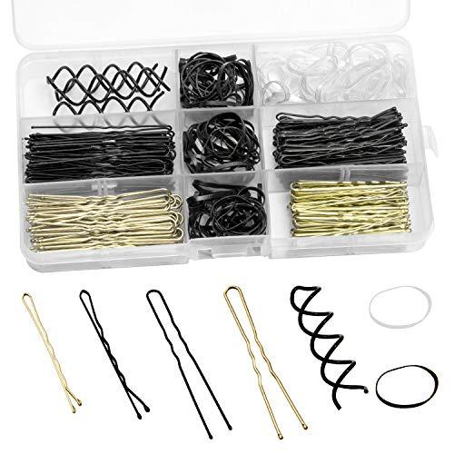 ZWOOS Haarnadeln, 200 Stück bobby pins und U Haarnadeln und 140 Stück Gummi-Haargummi und 3 Stück Spiral Bobby Hair Pins mit Aufbewahrungsbox für Mädchen und Frauen