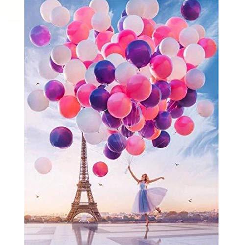 Malen nach Zahlen Kits mit Pinsel und Acrylpigment DIY Leinwand Gemälde für Erwachsene Anfänger - Teenager-Mädchen Ballon Turm 40x50cm (ohne Rahmen)