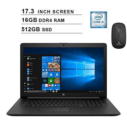 2020 Newest HP Pavilion 17.3 Inch Laptop (Intel Quad-Core i5-8265U up to 3.9 GHz, 16GB DDR4 RAM, 512GB SSD, WiFi, Bluetooth, Webcam, DVD, Windows 10) (Black) + NexiGo Wireless Mouse Bundle