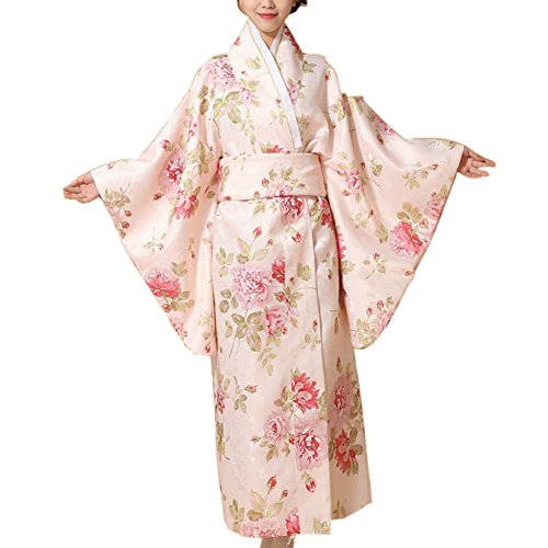 Fancy Pumpkin Kimono japonés Impreso Floral Yukata Cosplay Ladies Party Ropa de Dormir, B