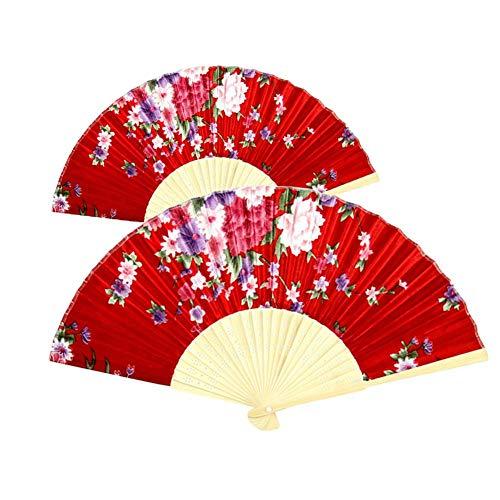 Xushiwanju Accesorios de verano Ventilador plegable Estilo chino Clásico Floral Impreso Mano Plegable Ventilador Decoración Fotografía Prop Fiesta Decoración Regalos Para Invitado Hermosa Decoración