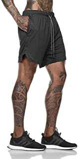 2 in 1 Mens Running Shorts, Quick Dry Short Pants with Compression Lining, Built-in Pocket, Double Layer Sports Shorts for...