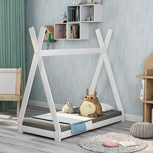 Keebgyy Bonita cama infantil india de madera maciza con somier para habitaciones infantiles y juveniles, color blanco (140 x 70 cm)