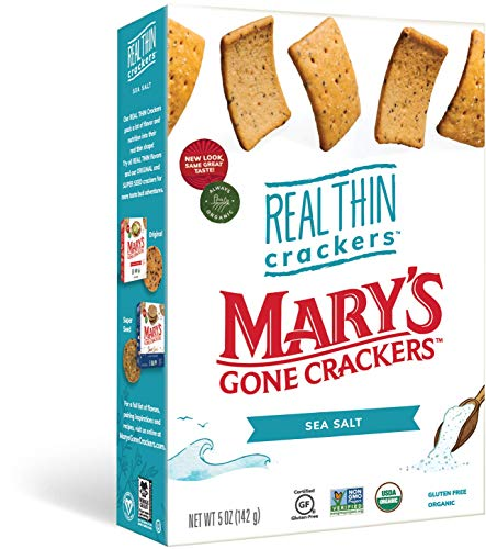 Mary's Gone Crackers Real Thin Crackers, Made with Real Organic Whole Ingredients, Gluten Free, Sea Salt, 5 Ounce (Pack of 1)