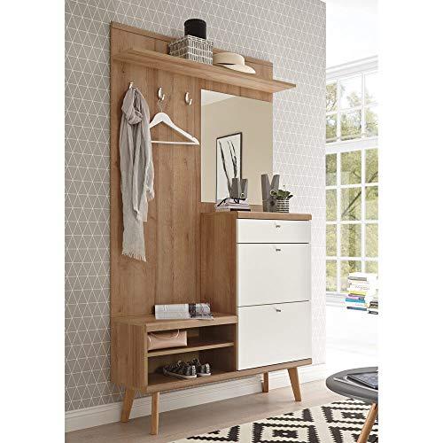 Lomadox Kompakt-Garderobe im Retro Design weiß matt mit Eiche Riviera Nb.