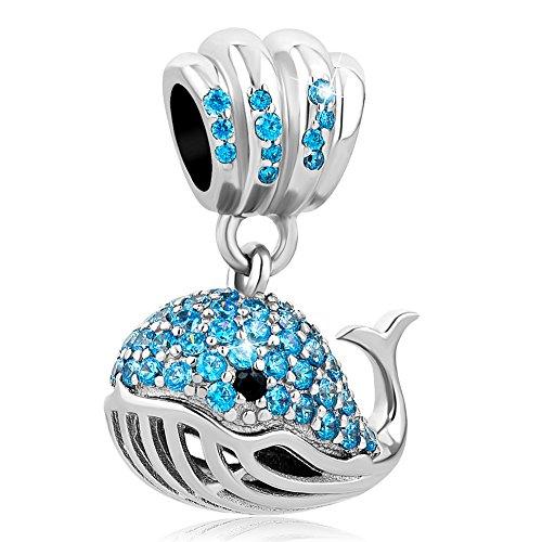 Uniqueen - Abalorios colgantes de plata de ley con cristales azules para...