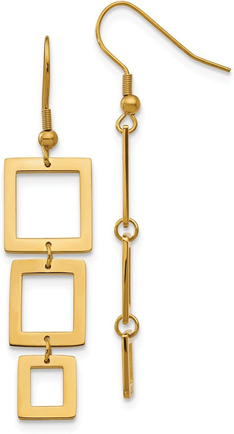 Beautiful Stainless Steel gold IP plated Rectangle Dangle Earrings