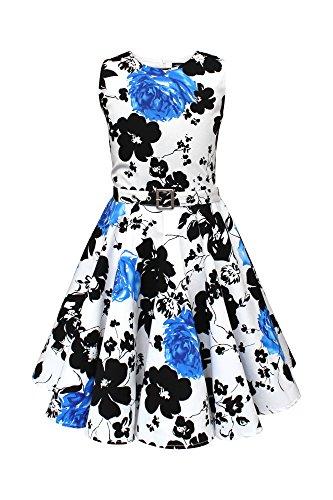 BlackButterfly Kinder 'Audrey' Vintage Serenity Kleid im 50er-J-Stil (Weiß & Blau, 11-12 J / 146-152)