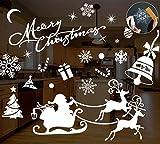 MELLIEX 8pcs Noël Fenêtre Autocollant Renne Flocon de Neige Noel Decoration Noël Stickers pour Domicile Magasin Décoration