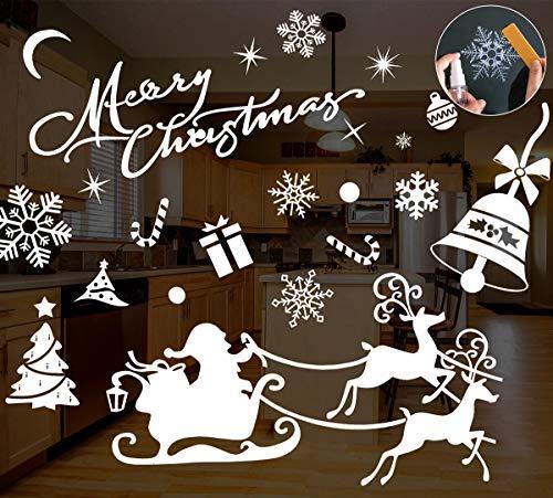 MELLIEX 8 PCS Natale Vetrofanie Renna Fiocco di Neve Rimovibile Fai da Te Finestra Decorazione per la Decorazione del Negozio di Casa
