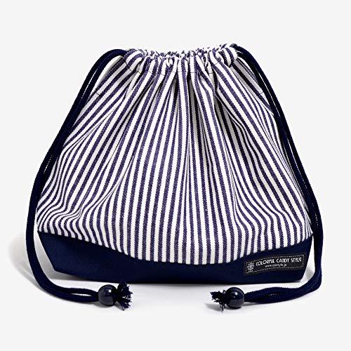 巾着 中 マチ有りお弁当袋(ネームタグ付き) ヒッコリーストライプ・紺 N3446900