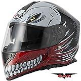 VCAN Caschi Integrale: Nuovo Stile Caschi V127 Cava Grafico ACU Completa, Moto Sportiva Casco (Rosso) (L)