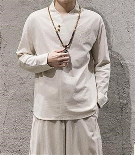 Herren Outdoor Sportbekleidung/Yoga und Meditation/Baumwoll Leinenanzüge/Top und Hose / 2 Stück, White, 4XL