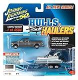 2004 Ford F-250 Pickup Truck Dark Shadow Gray Met. w/Pontoon Boat Ltd Ed 4504 pcs JL 50th Anniv 1/64 Diecast Car Johnny Lightning JLBT012B/ JLSP069