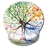 ITNRSIIET [30% Larger] Ergonomic Mouse Pad with Gel Wrist Rest Support, Abstract Colorful Tree of Life Oil Paintings Art Creative Design, Non Slip PU Base Mouse Pad Wrist Rest for Office, Laptop