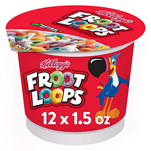 Kellogg Froot Loops Breakfast Cereal in a Cup Original Low fat Single Serve 15 oz Cup Pack of 12
