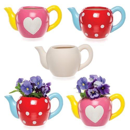 """Baker Ross AV983 Ross Keramik-Blumentöpfe """"Teekanne"""" für Kinder zum Gestalten, Bemalen und Verzieren - Kreatives Bastelset für Kinder/Erwachsene (2 Stück)"""