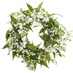 26″ Sweet Pea & Eucalyptus Silk Flower Hanging Wreath -White