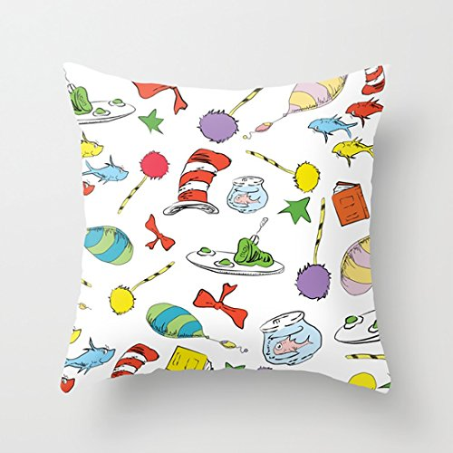 WUMIARUA Pillow Set dr seuss pattern cat in the hat, lorax, oh the places youx27;ll go, Throw Pillow case With Soft Comfortable Feeling for Car And Chair