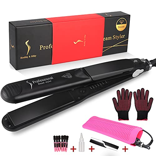 Steam Hair Straightener, Salon Ceramic Tourmaline Vapor Ionic Straightening Iron, Professional Steam Flat Iron for Hair, 2 in 1 Hair Straightener and Curler, Adjustable Temp