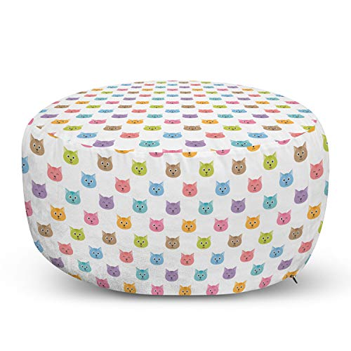 Ambesonne Cat Ottoman Pouf, Colorful Pattern of Faces Kids Boys Girls Nursery Design Domestic Pets Meow, Decorative Soft Foot Rest with Removable Cover Living Room and Bedroom, Multicolor