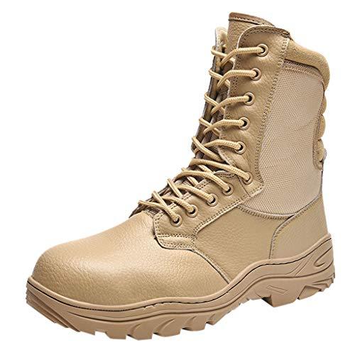 Hotopick laarzen heren, herfst-wintermode slijtvaste slip outdoor tactische laarzen zwart, high-top stalen kop werkschoenen heren laarzen, woestenlaarzen heren, veterlaarzen heren