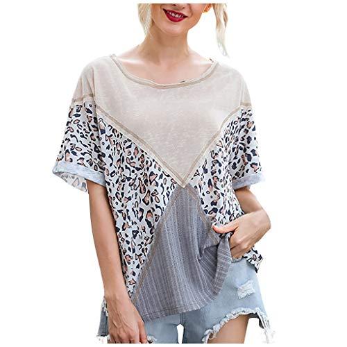 Masrin Damenoberteile Lässiges O-Ausschnitt-Patchwork-T-Shirt mit Leopardenmuster und gekräuselter, lockerer Kurzarmbluse(XL,Grau)