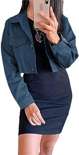 Women's Cropped Lapel Coat Long Sleeve Fashion Button Down Jackets