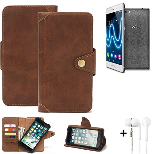 K-S-Trade® Handy Hülle Für Wiko Fever Special Edition Schutzhülle Walletcase Bookstyle Tasche Handyhülle Schutz Hülle Handytasche Wallet Flipcase Cover PU Braun Inkl. In Ear Headphones (1x)