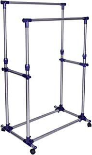 SONGMICS Double Rod Garment Clothing Rack, Rolling Clothes Racks, Hanging Rail on Wheels, Blue ULLR03B