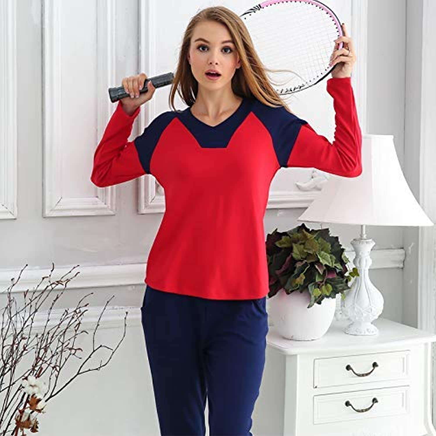 Cute Pajamas Spring and Autumn Korean Women's Loose Cotton Pajamas LongSleeved Casual Sports Cotton can be Worn Outside Home Service Suits (color   Red, Size   M) Sexy Sleepwear