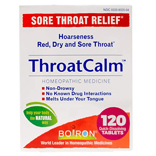 Boiron Throatcalm Tablets for Sore Throat Relief, 60 Count (Pack of 2)