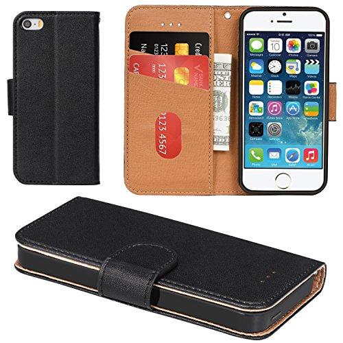Aicoco iPhone 5 Hülle, iPhone 5S Hülle, Schutzhülle Tasche Flip Hülle für Apple iPhone 5 / 5S / SE Handyhülle - Schwarz