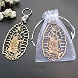 12Pcs Baptism Our Lady of Guadalupe Wood Design Keychain baptism Favors for Boy or Girl Recuerdos de Bautizo Christening Favor with Organza gift Bag
