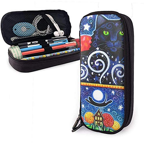 Black Cat PU Leather Pen Pen Bag 20 * 9 * 4 cm (8X3.5X1.5 Inches) Pouch Case Holder College Coin Purse Cosmetic Bag