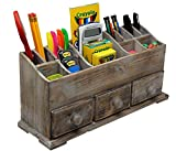 Vintage Rustic Wooden Desk Organizer For Desktop, Tabletop, or Counter Distressed Torched Wood Office Supply Caddy Store Supplies, Desk Accessories Pens, Pencils, Phone