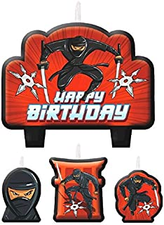 Black Ninja Birthday Party Candle Set Cake Decorations, Wax, Pack of 4