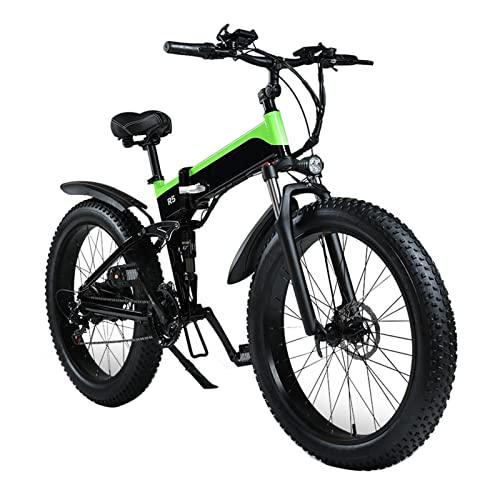Bicicleta eléctrica para adultos plegable 250W / 1000W neumático gordo bicicleta eléctrica 48v 12. 8ah batería de litio bicicleta de montaña bicicleta ( Color : Verde , tamaño : 250 Motor )