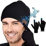 Lenski Cadeau Homme Original Bonnet Bluetooth V5.0 avec Gants Tactiles, Idee Cadeau Homme Noel Original, Unisexe Music Doux Chaleureux Bluetooth Chapeau Convient à Sports, Ski, Patinage, Marche