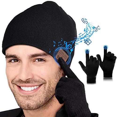 Lenski Geschenke für Männer Bluetooth Mütze V5.0 Kopfhörern & Winterhandschuhe Gadgets für Männer Geschenke Unisex Wintermütze Herren Adventskalender Männer 2020 Outdoor-Sport, Skifahren, Laufen