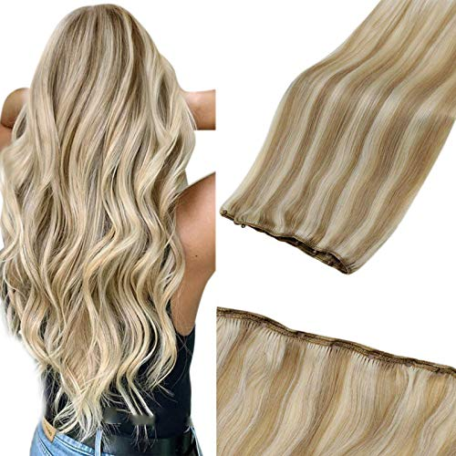 "LaaVoo Micro Beaded Weft Extensions Straight Highlighted Ash Blonde Mixed Bleach Blonde Remy Micro Ring Hair Weft Remy Blonde Hair Extensions 12"" Width 50g Easy Weft Real Human Hair Highlight 22"""