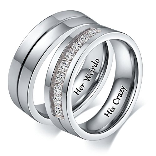 Aeici Jewelry Rings for Couples Engraved Double Ring Pendant Necklace Her Weirdo His Crazy CZ Size 8 & 10