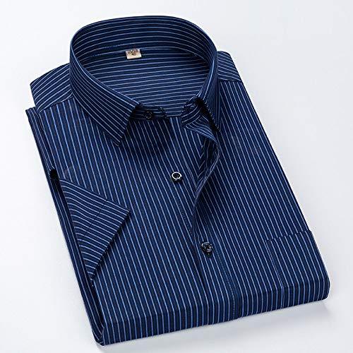 SHENSHI Chemise Homme Manche Courte,Chemises Boutonnées Classiques, Plus La Taille 8XL Rayé Chemise Twill Affaires Hommes Chemises Habillées Régulières, Azur, 5X, Grand