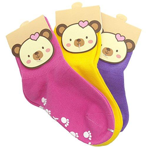 TUKA [3 Pares] Calcetines Antideslizantes Unisex para bebés 1 a 3 años, ABS Calcetines para niños niñas, no-de la resbalón de agarre, calcetines pie. Rosado Amarillo Púrpura TKB7000-Pinkyellowpurple