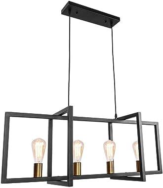 OYIPRO Industrial Kitchen Island Light, 4 Lights Modern Pendant Light Hanging Lamp Rustic Ceiling Light Fixture Black Frame Brass Lamp Socket E26