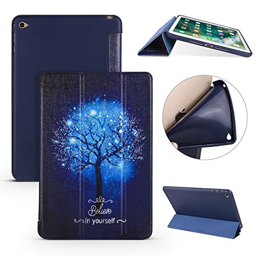 Xyamzhnn Leather Case Blue Tree Pattern Horizontal Flip PU Leather Case For IPad Mini 2019 With Three-folding Holder & Honeycomb TPU Cover