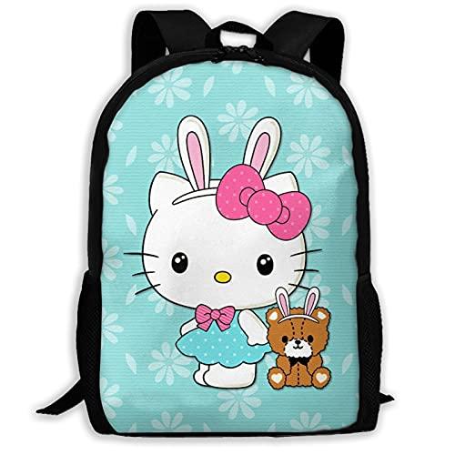 Mochilas para ordenador portátil Hello Kitty come helado, bolsa de libros escolares para hombres, mujeres/niños adolescentes campus lindo viaje mochila