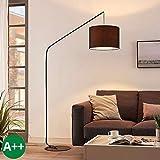 Lampadaire 'Viskan' (Jeunes, étudiants) en Noir en Textile e. a. pour Salon & Salle à manger (1 lampe,à E27, A++) de LINDBY | Lampadaire arqué, lampadaire arc, lampe sur pied, lampe de salon sur pied