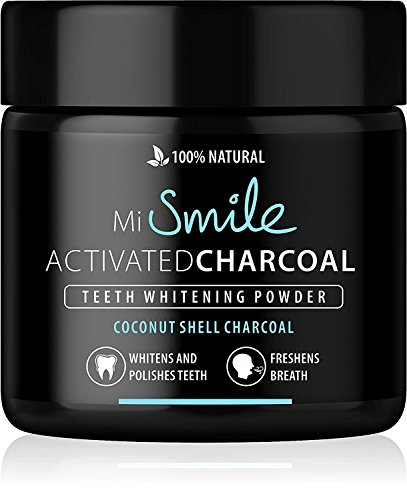 MiSmile Premium Aktivkohle - Coconut - 100% Natürlich | Weiße Zähne | Vegan | Activated Charcoal | Teeth Whitening Powder