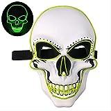 PMWLKJ Brillante Máscara Led Fiesta de Halloween Máscara de miedo Máscara divertida Cosplay Accesorios de vestuario 24x16.5cm Iluminación verde